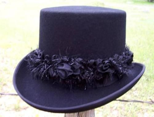 NEW Scala LADIES VICTORIAN Formal Dress Topper Top Hat w/Custom Flower Band NWT