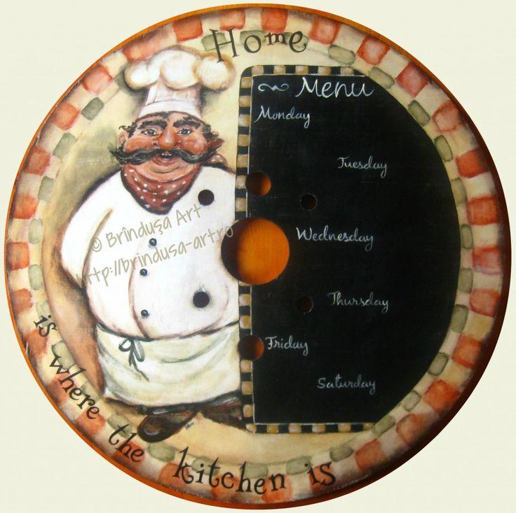 Brîndușa Art 'Home is where the kitchen is.' Recycled/ repurposed cable reel round plaque (2 feet diameter): painted menu plaque for a kitchen wall. Cook / menu / home,  whimsical painted wooden plaque.  Placă rotundă (60 cm diametru) rămasă de la un tambur pe care erau înfăşurate cabluri, reciclată: pictură pe lemn pentru un perete de bucătărie. 'Căminul e acolo unde e bucătăria.'  Bucătar / meniu / bucătărie, placă pictată pe lemn.