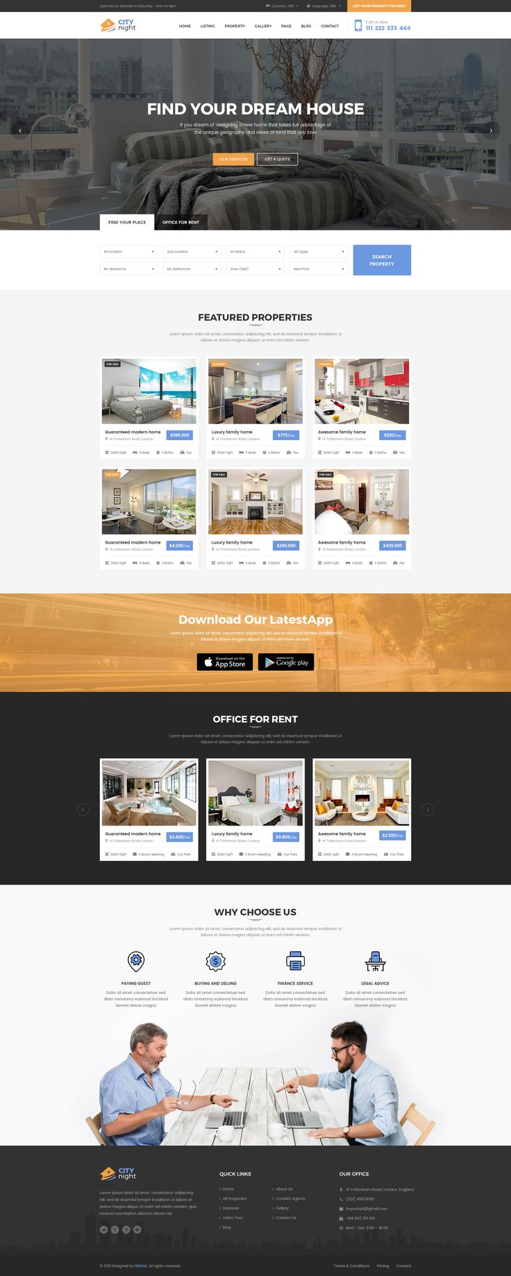 CityNight - Real Estate PSD Template • Download ➝…