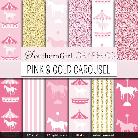 Pink & Gold Carousel Digital Paper: PINK by SouthernGirlGraphics
