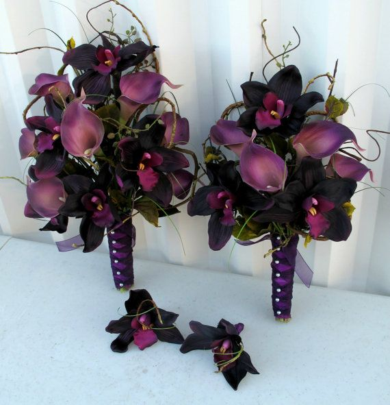 4 piece Wedding Bouquet set Calla lily by BrideinBloomWeddings, $214.00