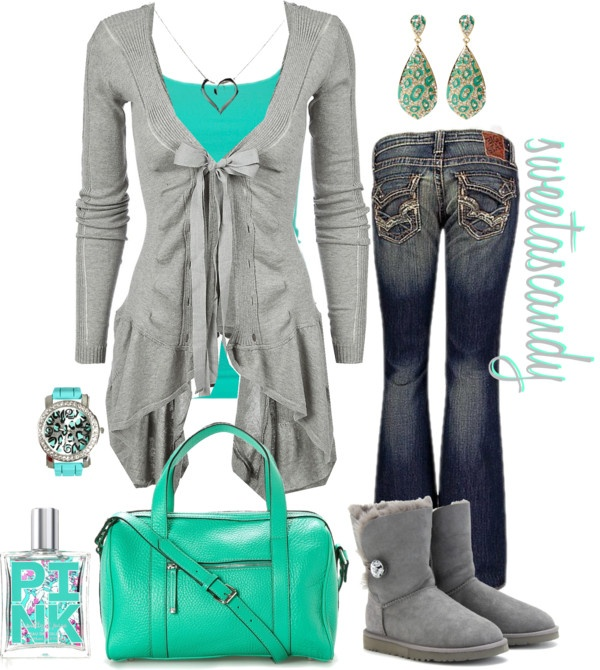 grey and teal . love this whole outfit!