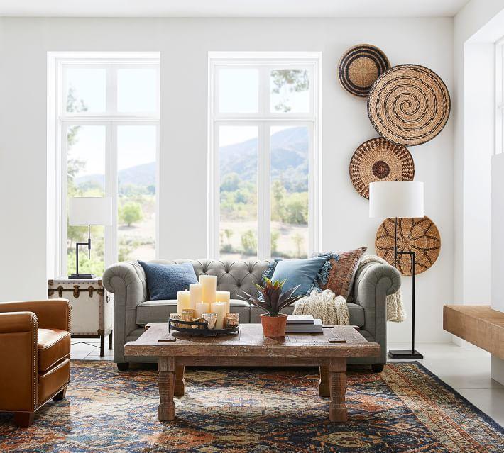 Handwoven Baskets Wall Art Set Of 4 Pottery Barn In 2020 Boho Living Room Decor Baskets On Wall Basket Wall Art