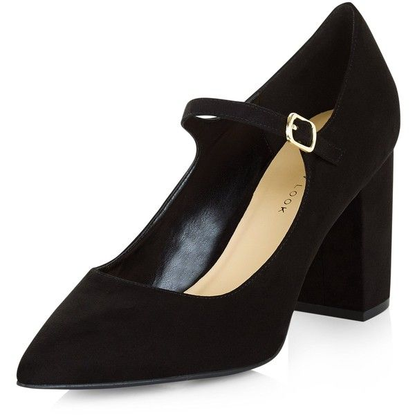 New Look Wide Fit Black Pointed Mary Jane Block Heels (98 BRL) ❤ liked on Polyvore featuring shoes, pumps, black, high heel mary jane pumps, high heel shoes, mary jane pumps, wide width pumps and black block heel pumps