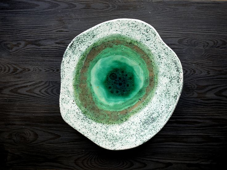 wetlands, decorative plate, handmade ceramic, emerald green, landscape, nature, table