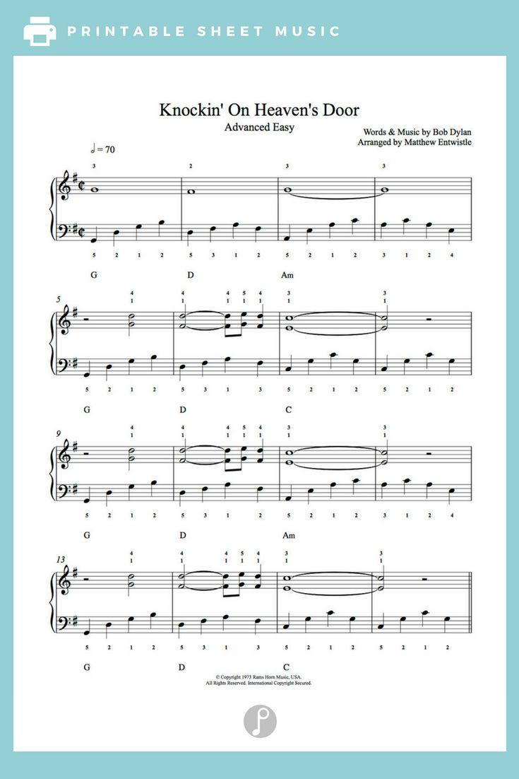 Knockin On Heaven S Door By Bob Dylan Piano Sheet Music Advanced Level Sheet Music Piano Sheet Music Piano Sheet