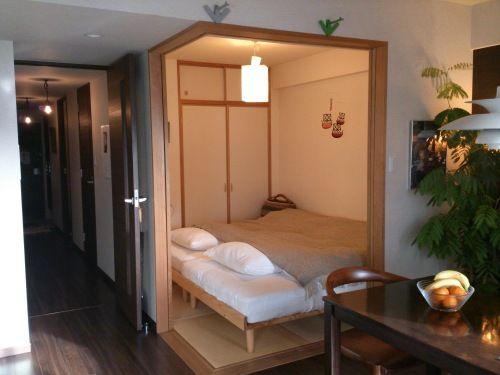 マンションldkに隣接する中和室の使い方 4 5畳和室ベッドに4人で寝て1年半 4人家族の3ldkインテリア 楽天ブログ 3ldk マンション インテリア 和室 ベッド