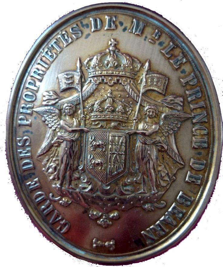 Plaque de garde-chasse du prince de Béarn, France, entre 1751 et 1815 [Armes Béarn / Navarre]. -- via eBay: http://www.ebay.fr/itm/Plaque-de-Garde-chasse-des-Proprietes-de-Mr-Le-Prince-de-Bearn-/131381530671