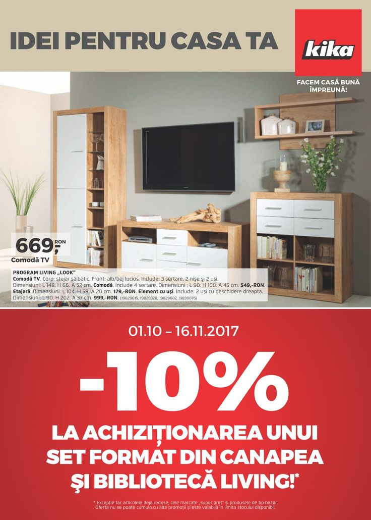 Catalog Kika Romania Oferte Octombrie 2017! Oferte: set living Comvay 2.499 lei; lampar Baya 299 lei; rama foto 7.99 lei; perna decor linen 29,99 lei