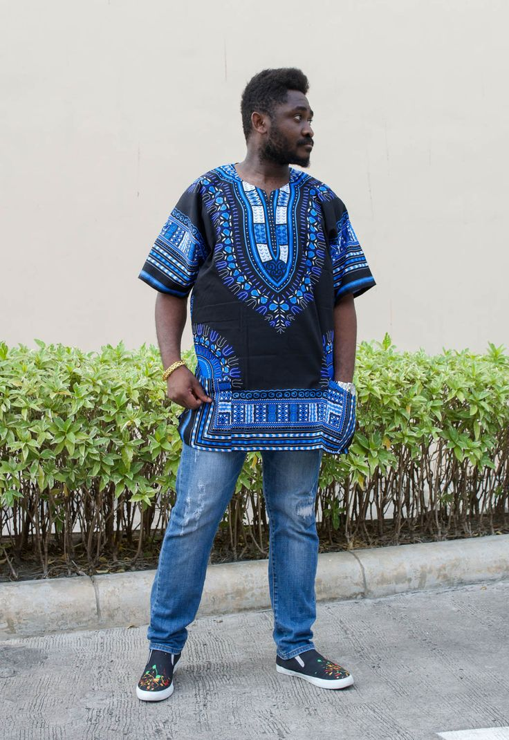 Mens African Dashiki Shirt Vintage kaftan Tribal Print Black & Blue