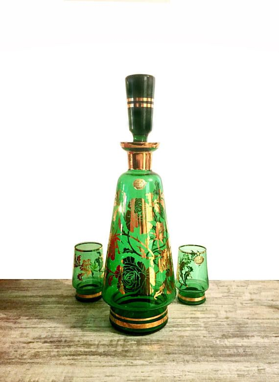 Vintage Decanter Set Green Bohemia Glass #BohemianGlass #GlassDecanter #GreenandGold #Green #Decanter #vintage #VintageDecanter #Bohemia
