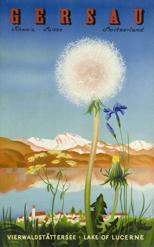 1940 Gersau, Vierwalstättersee-Lake of Lucerne,Switzerland vintage travel poster