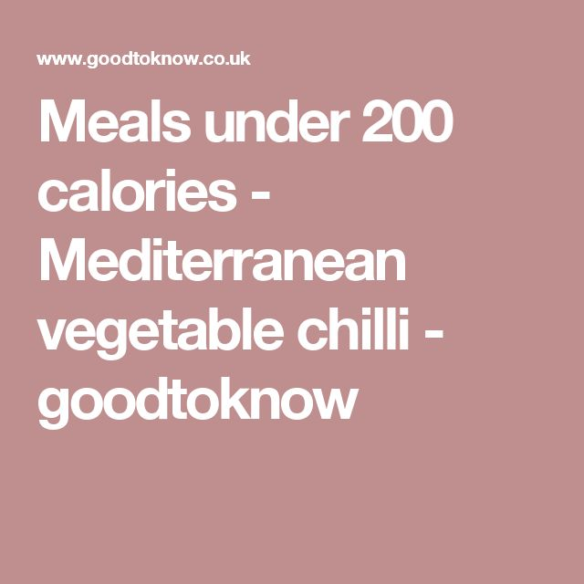 Meals under 200 calories - Mediterranean vegetable chilli - goodtoknow