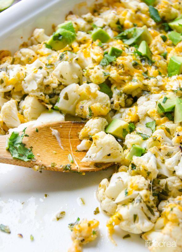 Lime and Cilantro Cauliflower with Avocado {recipe}
