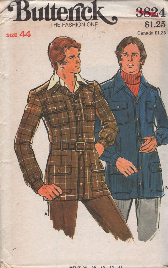 Butterick 3824 1970s  Mens Close Fitting Belted Safari  Jacket vintage sewing pattern by mbchills