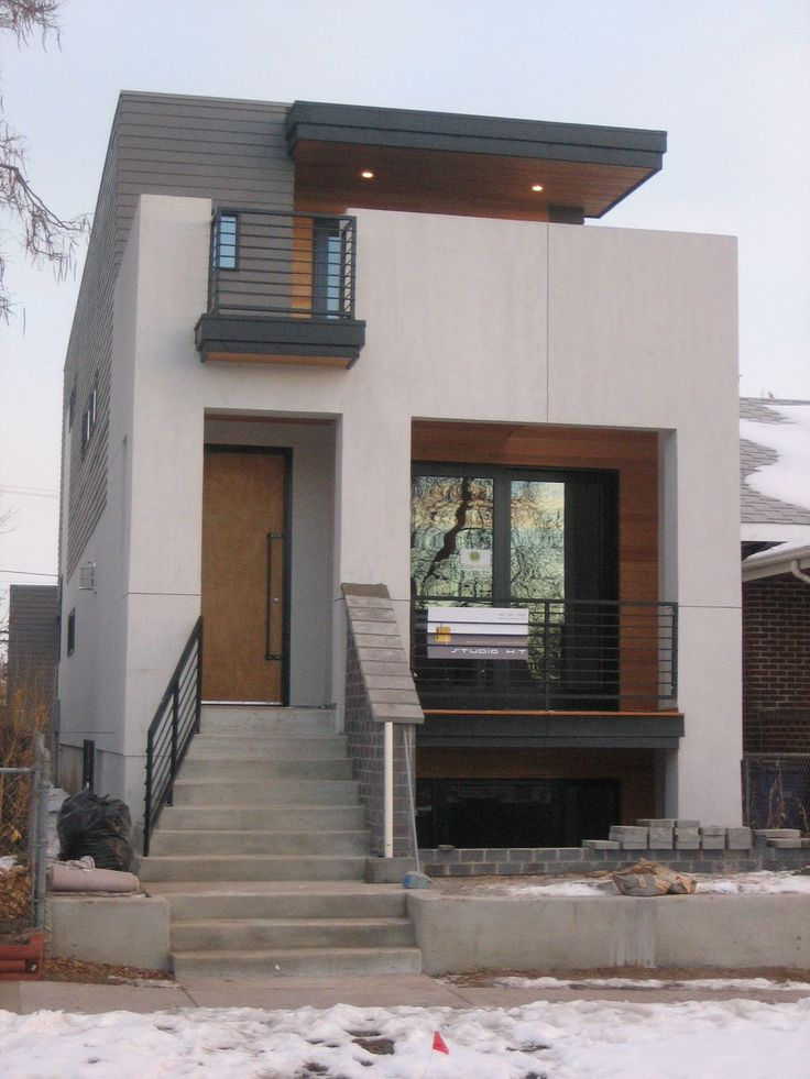 small modern house design with white walol using large window and wooden brown color that have - Design For Small House