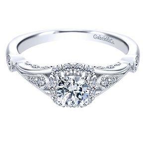 14K White Gold .67cttw Vintage Cushion Halo Diamond Engagement Ring