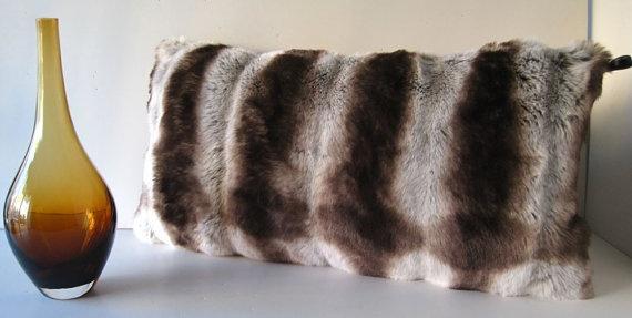 Chinchilla Brown Faux Fur Decorative Pillow by WilhelminaJacobsLA, $69.99