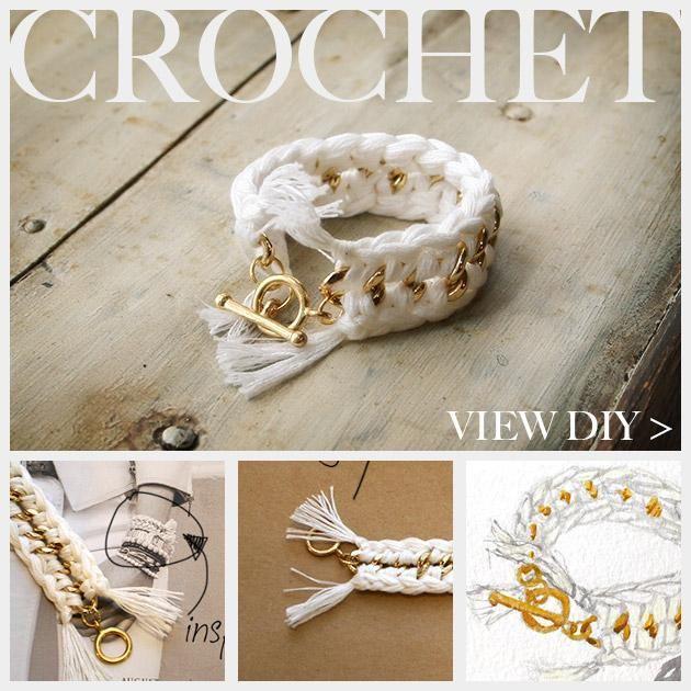 DIY Bracelet : DIY Crochet Bracelet  metal chain in middle; crocheted on either side.