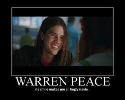 Warren Peace (Steven Strait on Sky High) Haha! Fell in love with him when I was in high school. Meehee.