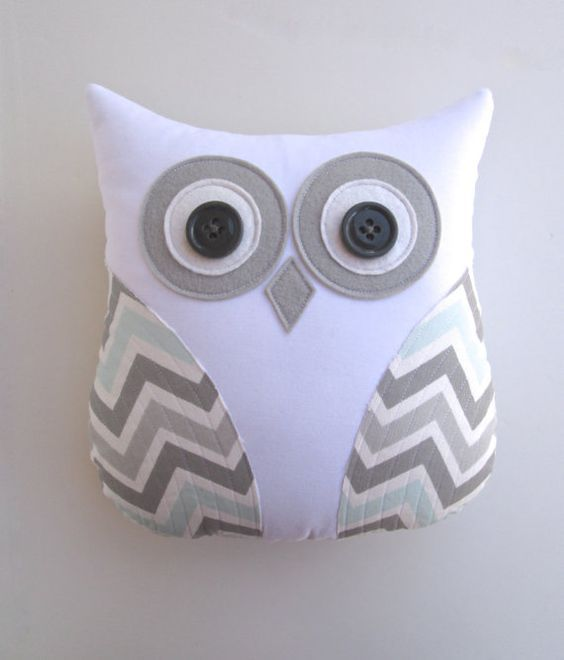 owl pillow, grey and blue chevron pillow, mist and gray chevron, pillow, animal pillow, blue white nursery decor by whimsysweetwhimsy on Etsy, $36.00: