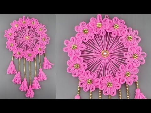 Woolen Craft Idea/Best Out of Waste Woolen Door Hanging/How To Make Wall Hanging for Room Decor - YouTube