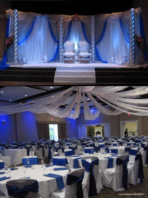 23 best blue silver party decor images on pinterest for Wedding reception room decoration ideas