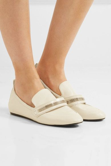 Lanvin - Chain-trimmed Leather Loafers - Neutral - IT35.5