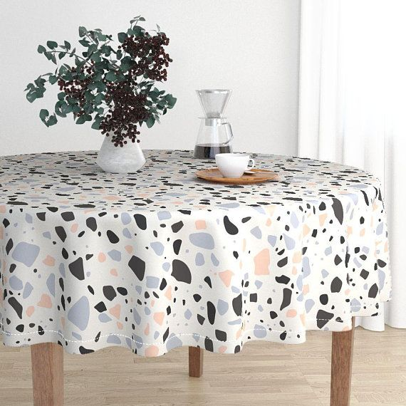Round Tablecloth Terrazzo By Kimsa Terrazzo Luxe Modern Cotton Sateen Round Tablecloth By Rooste Terrazzo Table Cloth Round Tablecloth