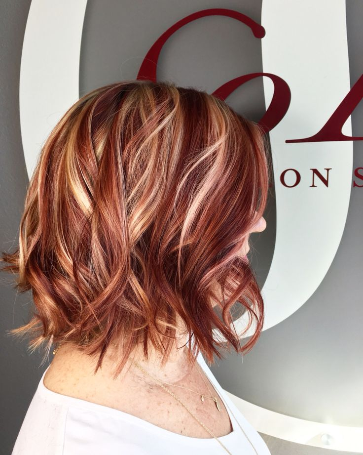 Best 25 red blonde highlights ideas on pinterest blonde hair red and blonde highlight lowlight hair by kristine norris lob haircut pmusecretfo Gallery