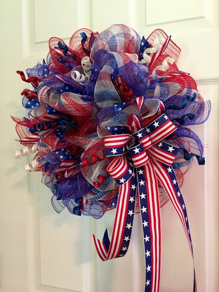 Patriotic Wreath, Fourth of July Wreath, Memorial Day Wreath, wreath, Deco mesh Wreath, red white and Blue Wreath, Anytime Wreath by RoesWreaths on Etsy https://www.etsy.com/listing/237182638/patriotic-wreath-fourth-of-july-wreath