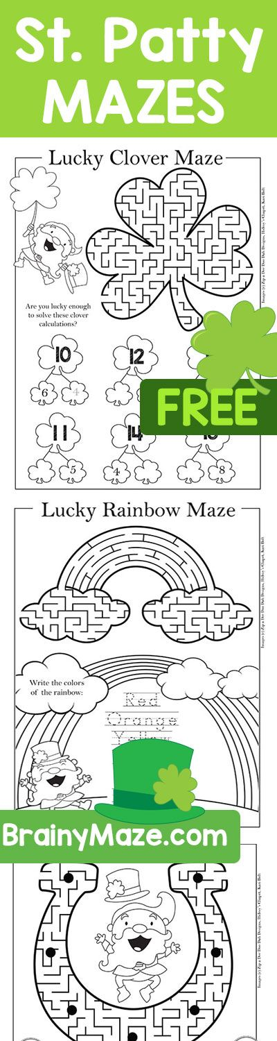 Free St. Patrick Day Mazes & Activity Pages. Four Leaft Clover Maze, Horseshoe and Rainbow Maze, Pot of Gold, Leprechaun Top Hat and more! Tons of free printables from BrainyMaze.com. A fun collection of mazes and activity worksheets for K-3 students. Add a little fun to your classroom with this thematic set of Lucky printables! Free!