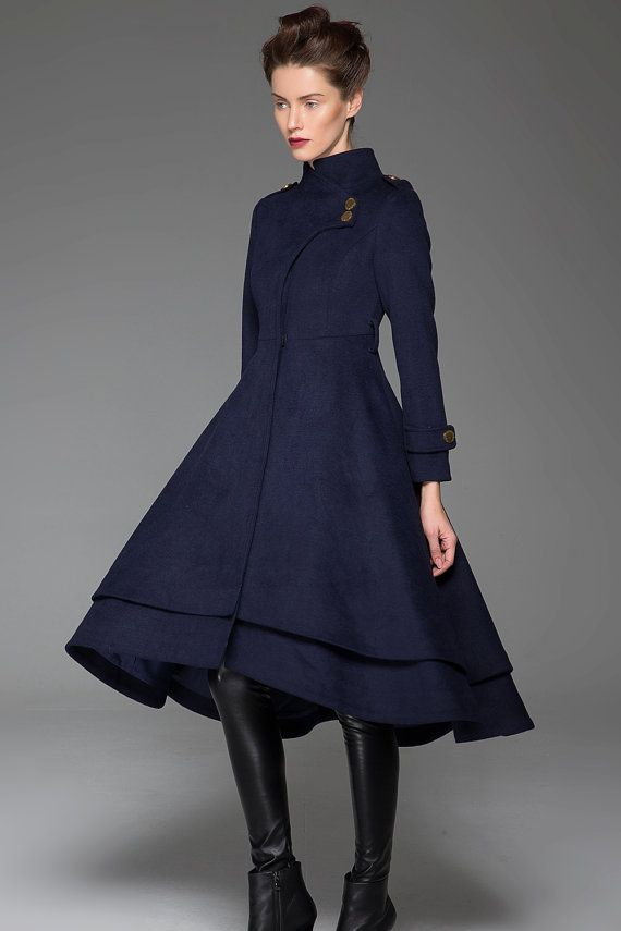 Navy Blue Coat - Wool Long Woman's Coat with Asymmetrical Flirty Hemline Zipper Closure and Stand-Up Collar (1423)