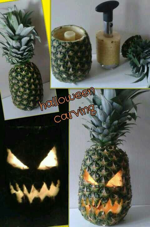 Pineapple jack 39 o 39 lantern carving for halloween for Pineapple carving designs