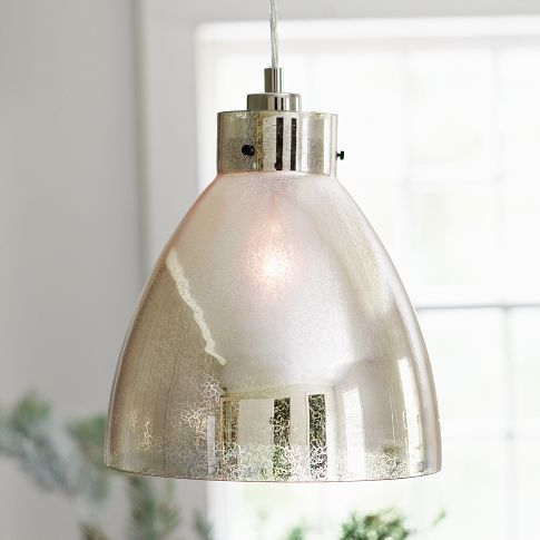 Industrial Pendant – Mercury  $99.00  A touch of glass, in an all-new finish. Striking as a single hanging lamp and even more luminous clustered in multiples, our popular Industrial Pendant gets a glamorous new look in vintage-inspired mercury glass.