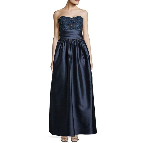 Marchesa Notte Women's Embellished Sweetheart Ball Gown ($1,095) ❤ liked on Polyvore featuring dresses, gowns, navy, blue evening dresses, navy ball gown, navy gown, navy blue gown and navy dress