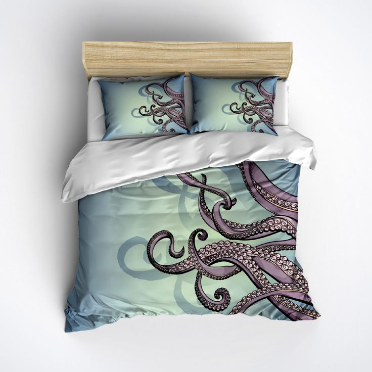 Octopus Bedding - Octopus Tentacle Design - Beautiful Purple and Teal Colors by InkandRags on Etsy https://www.etsy.com/listing/239051531/octopus-bedding-octopus-tentacle-design