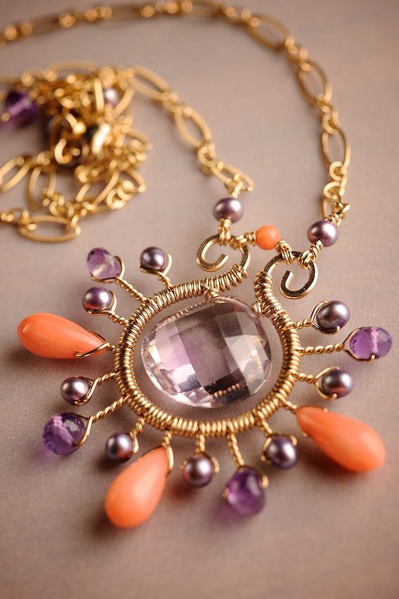 14k Gold fill Necklace w/ Pink Amethyst Coral & Mauve Pearls: