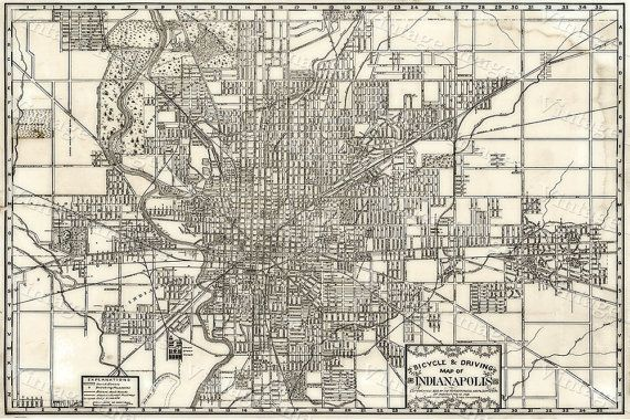 Large 1899 Vintage Historic Indianapolis Indiana Bicycle and Driving Map Antique Restoration Hardware Style wall Map Fine art Print Poster
