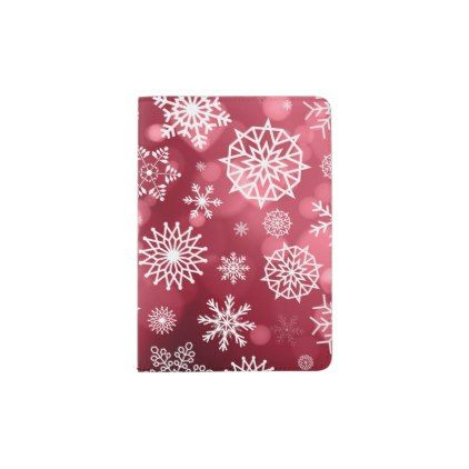 Snowflakes on a Valentine Background Passport Case - red gifts color style cyo diy personalize unique