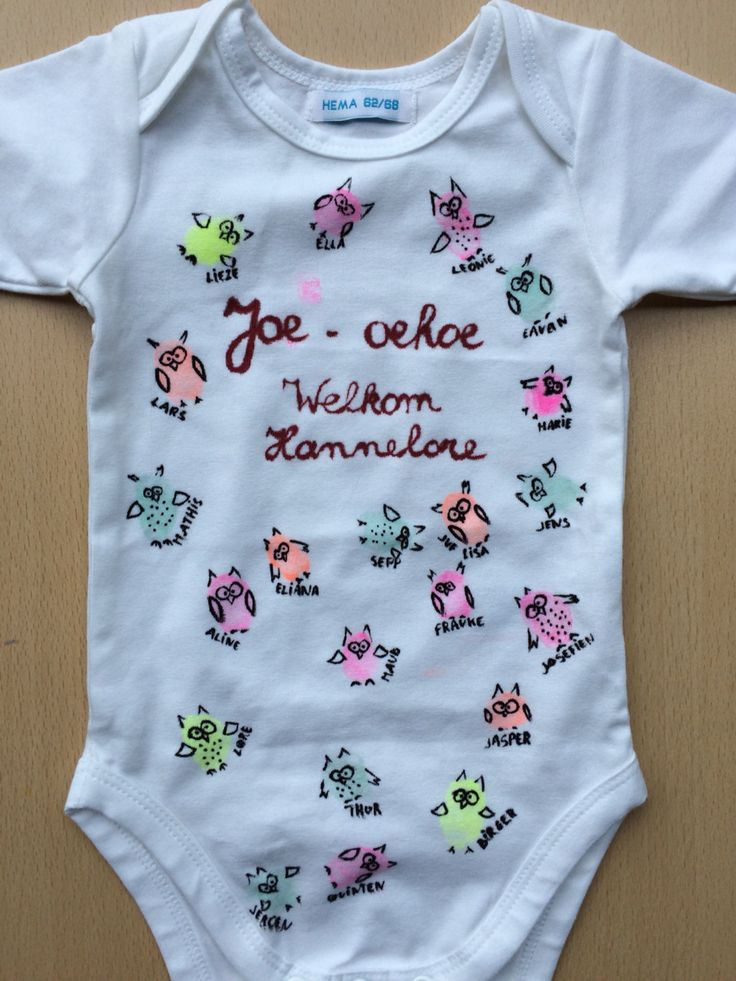 Babycadeau - Cadeau van de klas voor broertje of zusje van een klasgenootje #rompertje #uiltjes