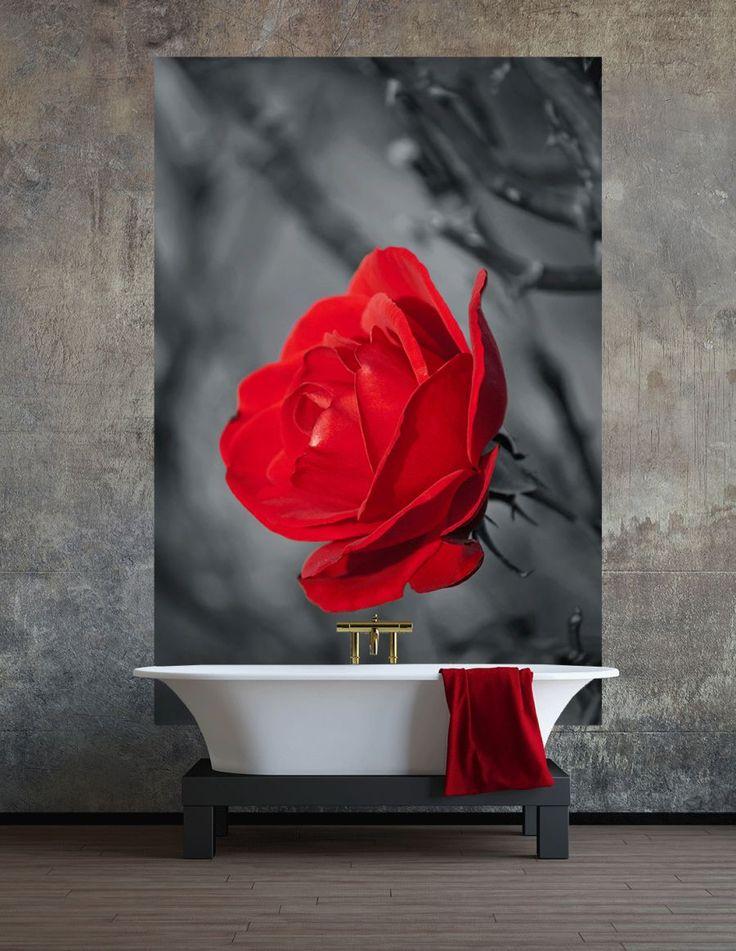 fototapeta do łazienki z motywem róży