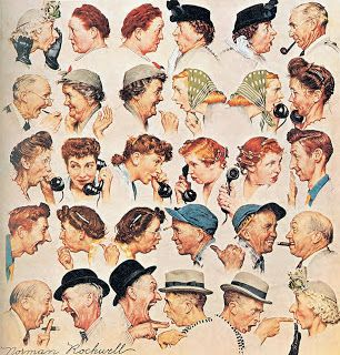 A ilustração de Norman Rockwell mostra cinco linhas com pares de pessoas conversando frente a frente. Os personagens são retratados do peito para cima, tem idade entre mais ou menos quarenta e setenta anos. Todos usam penteados, chapéus e roupas da década dos anos cinquenta. A conversa que sugere uma grande fofoca que se inicia na primeira linha com uma mulher idosa de cabelos brancos, ela usa elegante chapéu branco com flores e luva preta. A mulher coloca a mão em concha...