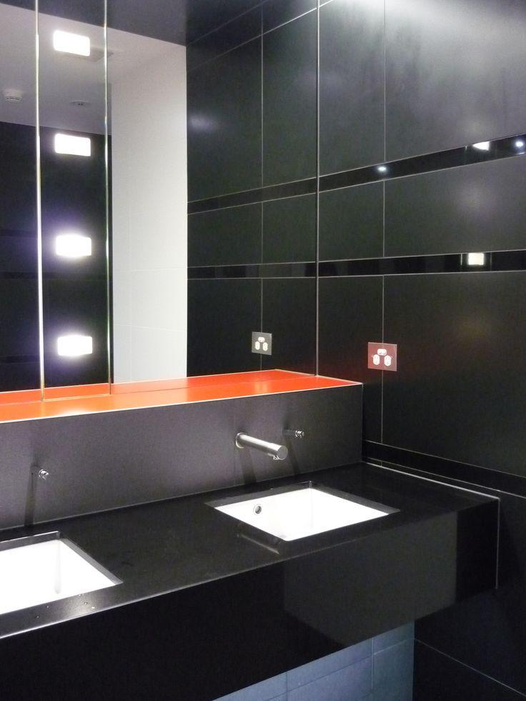 Virgin Terminal Amenities: Black gloss/matt and Orange tiles