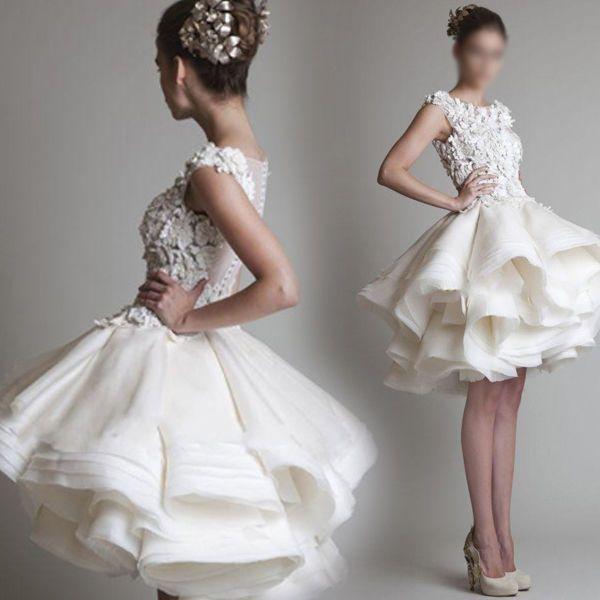 Womens White Lace Bridesmaid Gown Evening Cocktail Short Mini Princess Dress G48