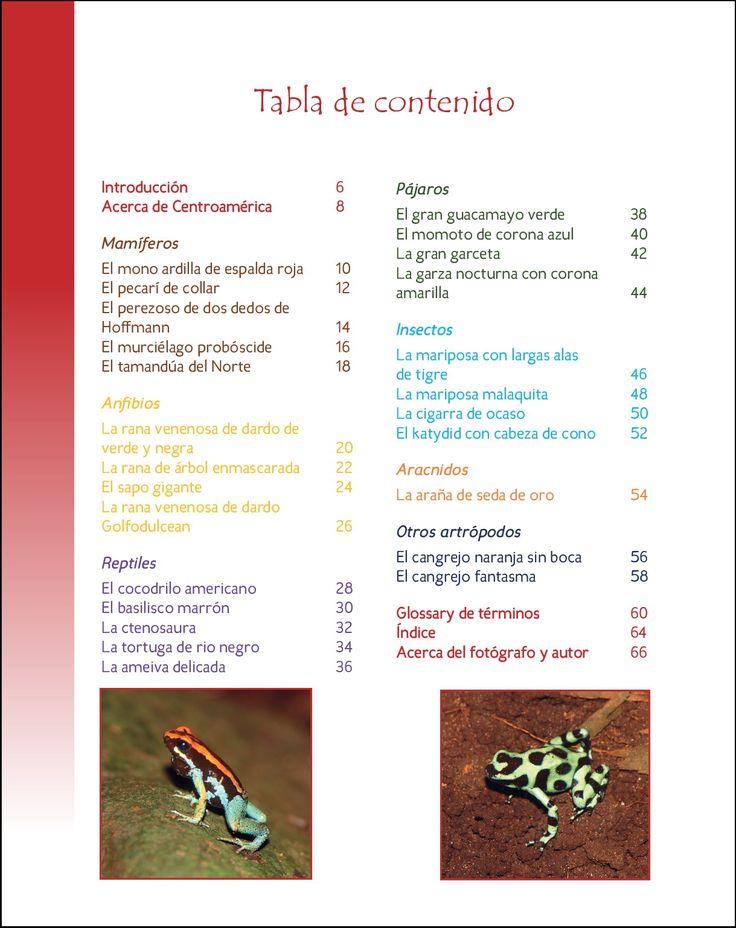 La vida silvestre en Centroamerica 2; 25 Mas animales asombrosos que viven en als selvas tropicales y los rios.  Serie Wildlife Around The World. Fotografia y Texto de Cyril Brass.  Tabla de contenido