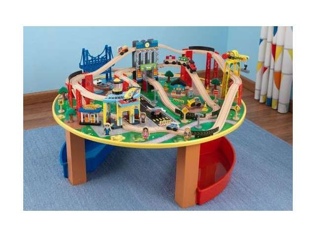 KidKraft City Explorer Wooden Train Set \u0026 Play Table w/ 80 Toy Pieces  sc 1 st  Pinterest & 22 best Wooden Train Set Tables images on Pinterest | Wooden train ...