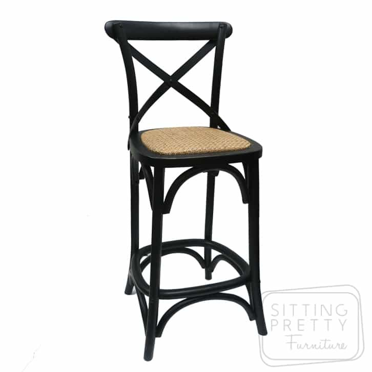 Bella Cross Back Stool Vintage Black Pretty Furniture Stool