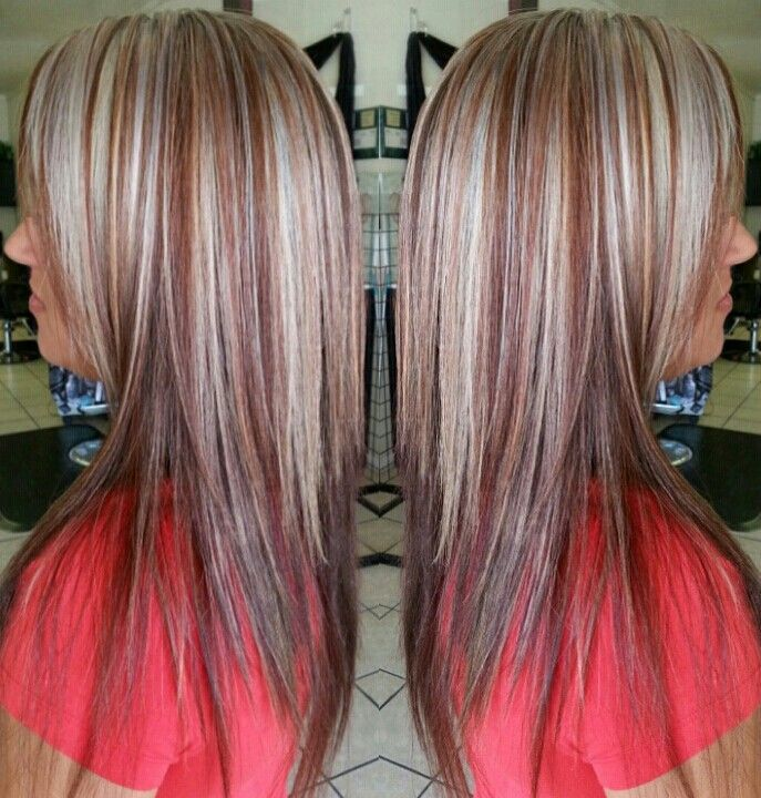 Image Result For Red Gray Highlighted Hair Silver Blonde Hair Red Hair With Blonde Highlights Blonde Hair With Highlights