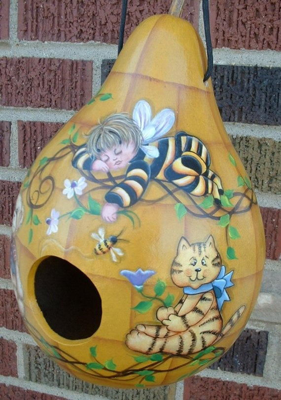 Bee Baby Gourd Birdhouse  Hand painted  Folkart by FromGramsHouse,